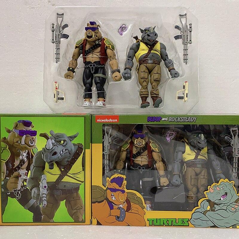 Anime trituradora Miguel Ángel Pie de soldadura Donatello Krang figura Bebop Rocksteady figura tortuga NECA figura de acción de juguete 2 unids/set