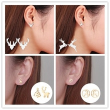 2020 New Creative Christmas Ornaments Fashionable Christmas Elk Stainless Steel Cute Deer Earrings L