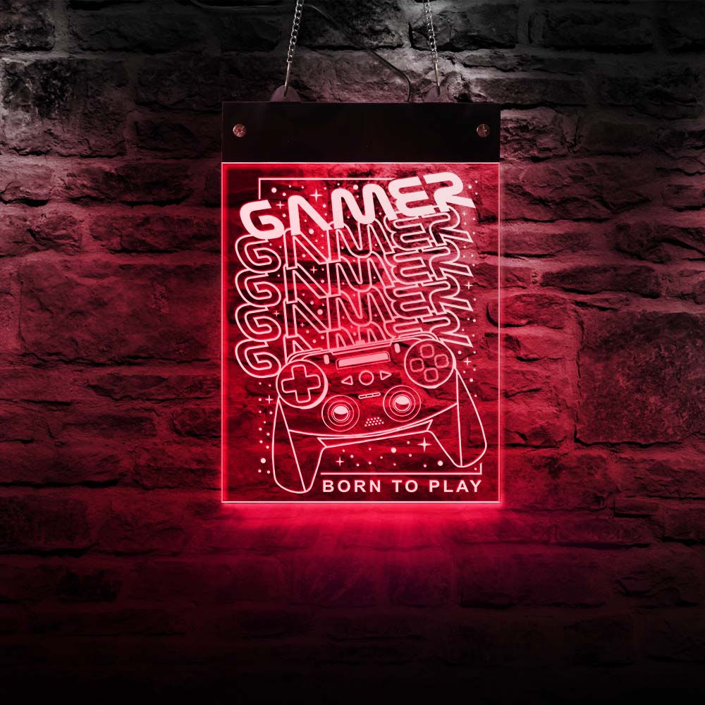 Gamers Born To Play Game Zone LED Neon Sign Man Cave Boys Room Gamepad Electronic Lighted Signs Joysticks Hanging Light Board