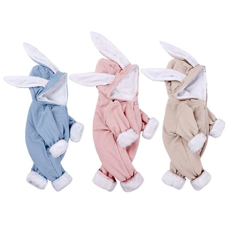 Autumn Rabbit Screw Thread Stripe Baby One-piece Kids Rompers Thicken Winter Clothes Boys Girls Plus