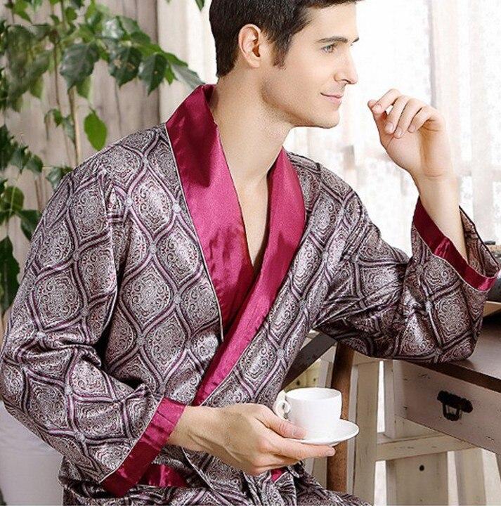 Мужчины% 27 халат ночная рубашка атлас кимоно халат халат повседневная одежда одежда для сна большие размеры принт золото дом халат халат 3XL 4XL 5XL