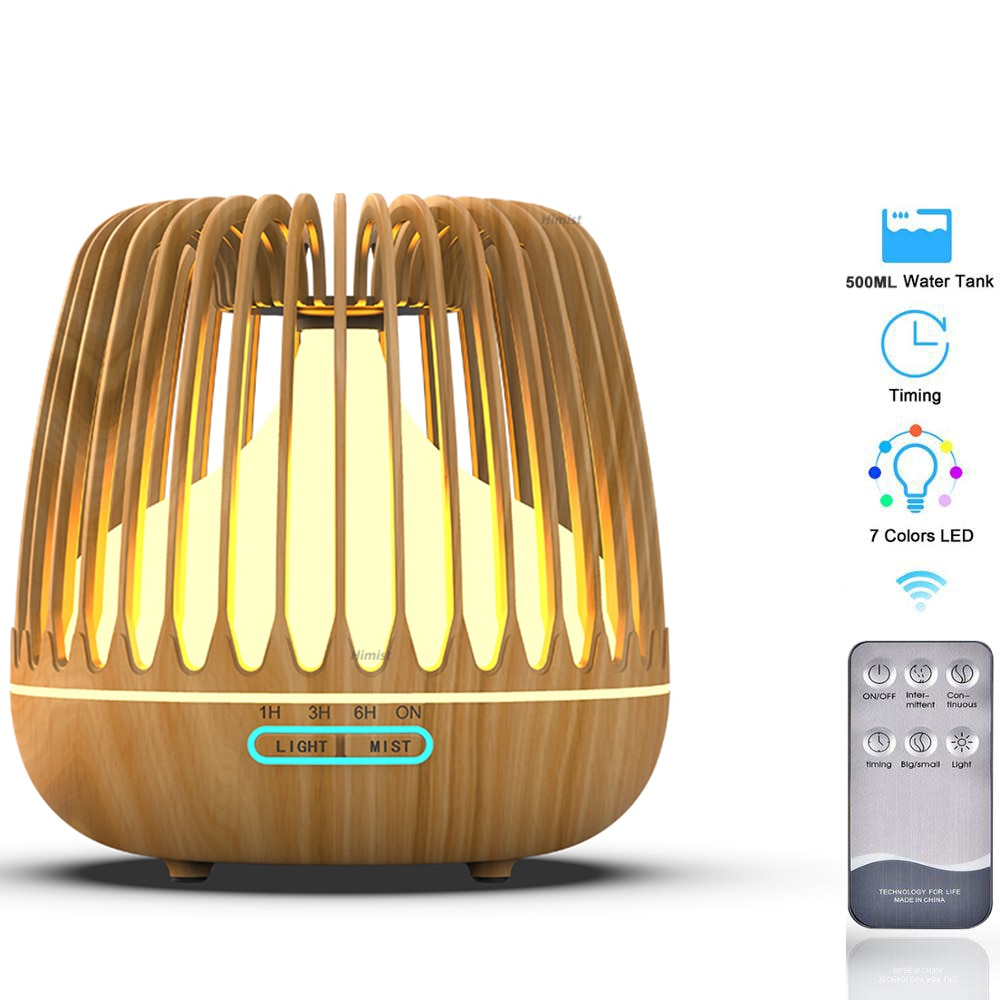 500ml Aroma Essential Oil Diffuser Ultrasonic Humidifier Wood Grain 7 Color Changing LED Light Cool Mist Difusor for Home