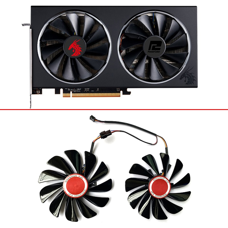 Ventilador de Refrigeração para Powercolor Novo Fc1010u12s 4pin Rx5700 Vermelho Drago Gpu xt 5600xt Vga Gráficos Fãs 2 Pçs 95mm Fdc10u12s9-c