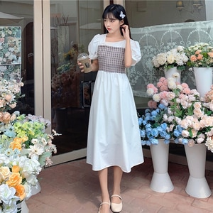 Plaid Patchwork Dress Women's New Fall Collection Waist Show Slim Long Skirt Fairy French Platycodon Skirt