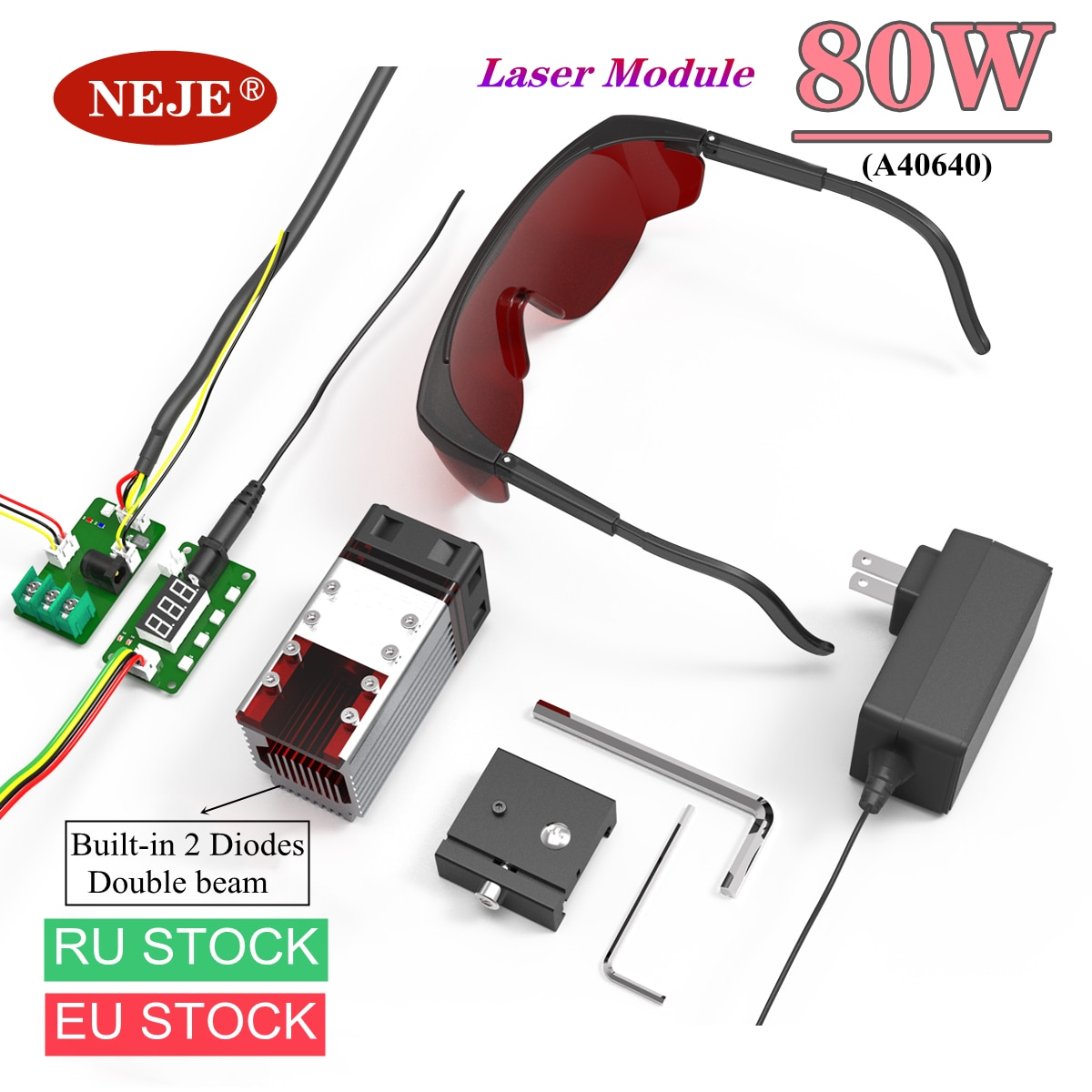 NEJE A40640 80W High Power Laser Module Kits Laser Head Built-in Two Diodes for CNC Laser Engraving Machine Wood Cutting Tool