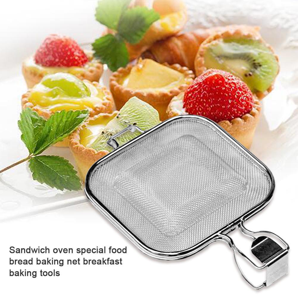 Aço inoxidável grelhar pão líquido sanduíche pequeno almoço cozinhar churrasco ferramenta de acampamento grelhar net rack fogao placa churrasco net