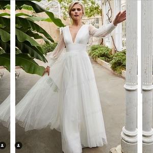 Long Sleeve Wedding Dress Backless A-Line 2021 Deep V-Neck Floor Length Tulle White Robe  Vintage Civil Elegant Simple Princess