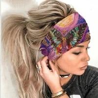 lady fashion sport print stretchy headband elastic non slip turban headwraps breathable quick dry yoga running hair accessories