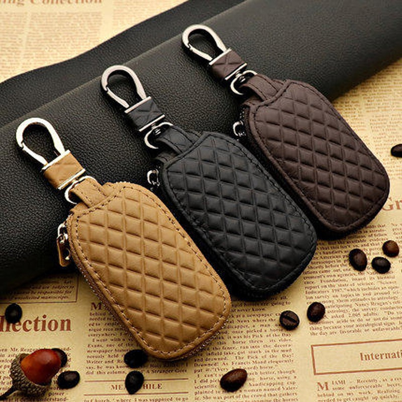 Car key bag accessories head layer cowhide large capacity personality unisex key cover protective Auto Accessories decoration