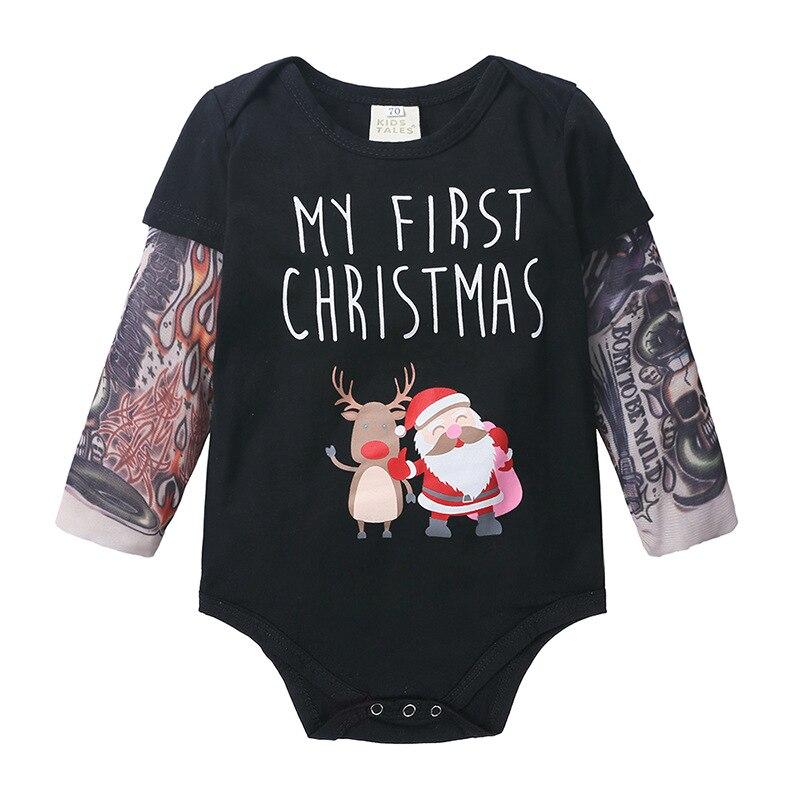 Ropa para niños Wasailong 2019 Navidad nuevo bebé de manga larga tatuaje impreso una sola pieza haji escalada bolsa de ropa los pedos
