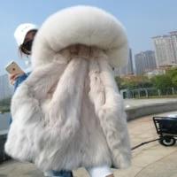 2020 womens fur jacket denim jacket natural fox fur lining jacket ladies women winter warm cotton coat