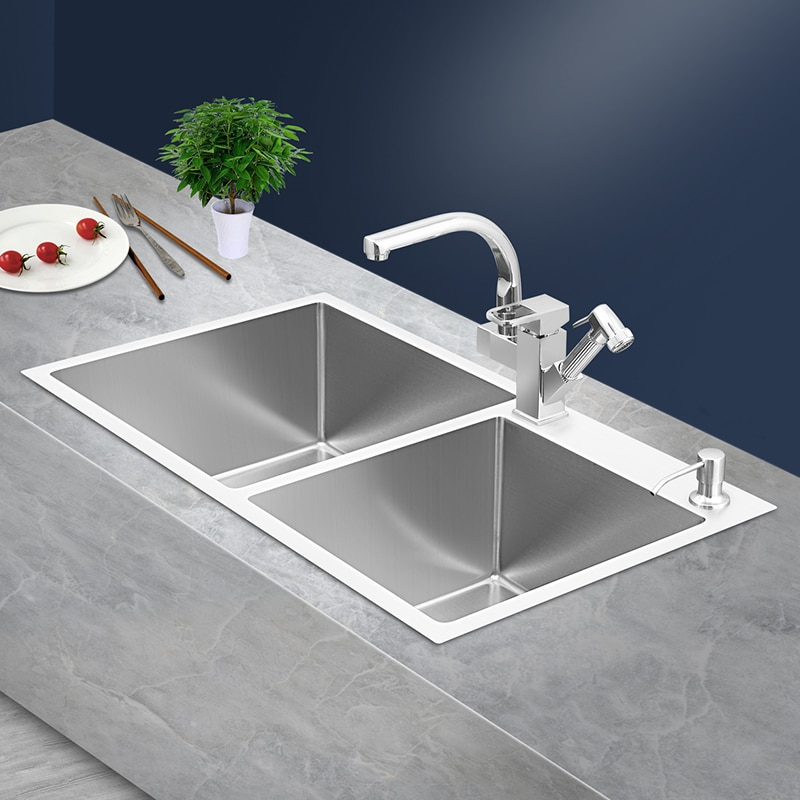 304 Stainless Steel Brushed Kitchen Sink Farmhouse Sink Double Bowl with Faucet  Above Counter Home Sink Divider  CN(Origin)