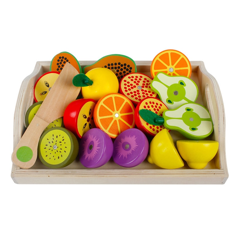 AliExpress - Wooden Pretend Kitchen Cut Fruit Toy Set Children Montessori Learning Educational Toys Girls Play House Series Classic Game Gift