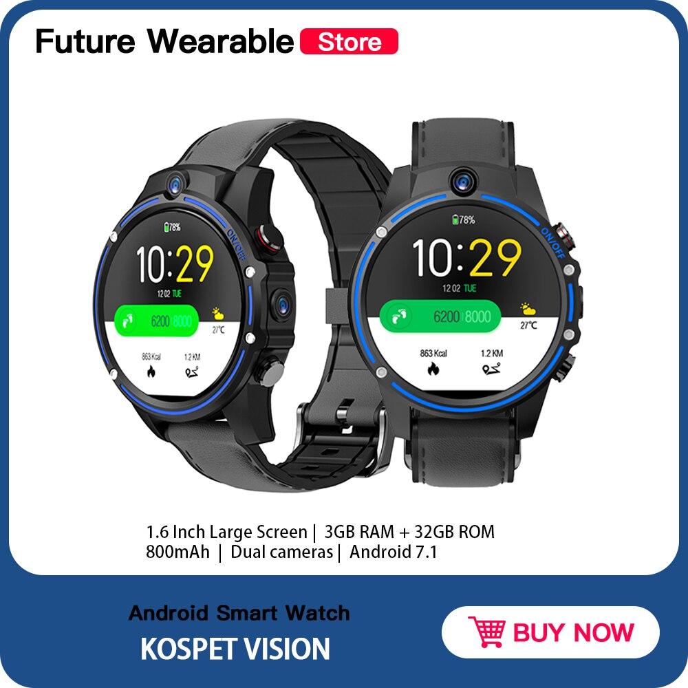 "Оригинальные Смарт-часы Kospet Vision, 3 ГБ, 32 ГБ, 5,0 МП, двойная камера, 800 мАч, Bluetooth 1,6 "", IPS, Android, Поддержка Android IOS"
