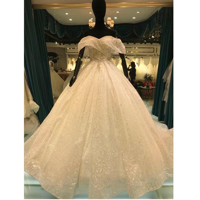فستان زفاف جديد 2021 بدون الكتف برقبة ساطعة ترتر دانتيل لحفلات الزفاف مصنوع حسب الطلب Vestido De Noiva