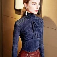 2021 new spring shiny mesh top female winter basic sweater long sleeve turtleneck pullover women elegant black blue jumper pull