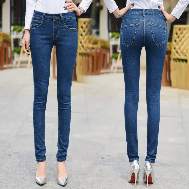 2020 new plus size women's jeans casual all-match slim jeans high quality
