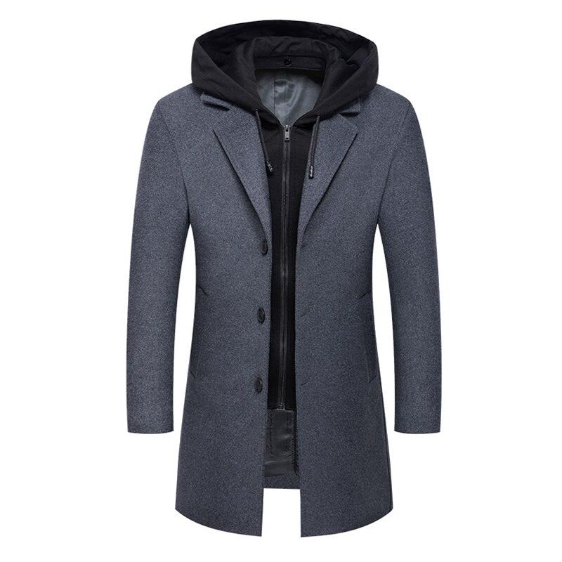 الشتاء الصوف معطف جديد الرجال الموضة مقنعين طويلة خندق معطف الأعمال التجارية غير رسمية الرجال الصوفية معاطف واحدة الصدر سترة