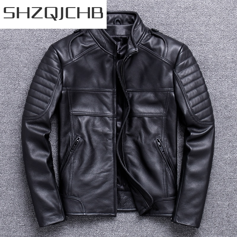 JCGB 2021 Spring Autumn 100% Genuine Leather Jacket Men Winter Clothes  Streetwear Moto Biker Natural Real Cow Leather Coat 820
