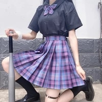 women purple black uniform pleated skirts japanese school uniform high waist a line plaid skirt sexy jk uniforms girls full sets