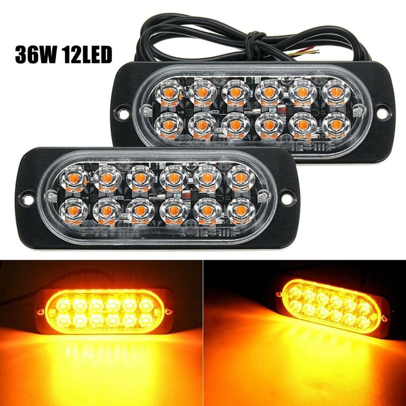1pcs 12pcs LED Strobe Warning Light 12V 24V Super Power Car Truck SUV Emergency Side Flashing Light Yellow Car Light