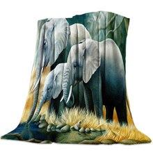 Africa Indian Elephant Flannel Fleece Bed Blanket Bedspread Coverlet Bed Cover Soft Lightweight Warm Cozy Blankets