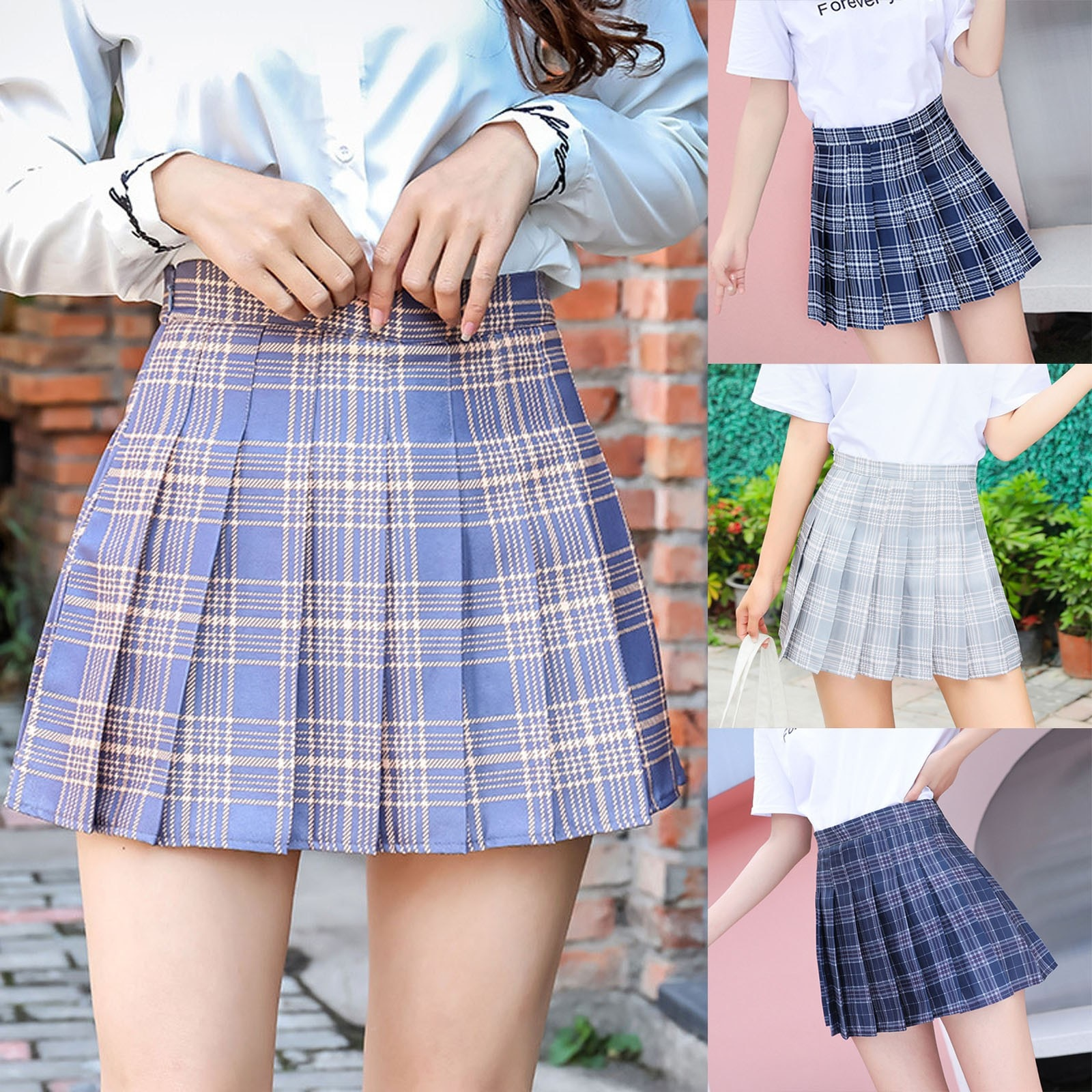 2021 Women Skirts Student High Waist Chain A-Line Pleated Skirt Natural Preppy Style Commute Mujer F