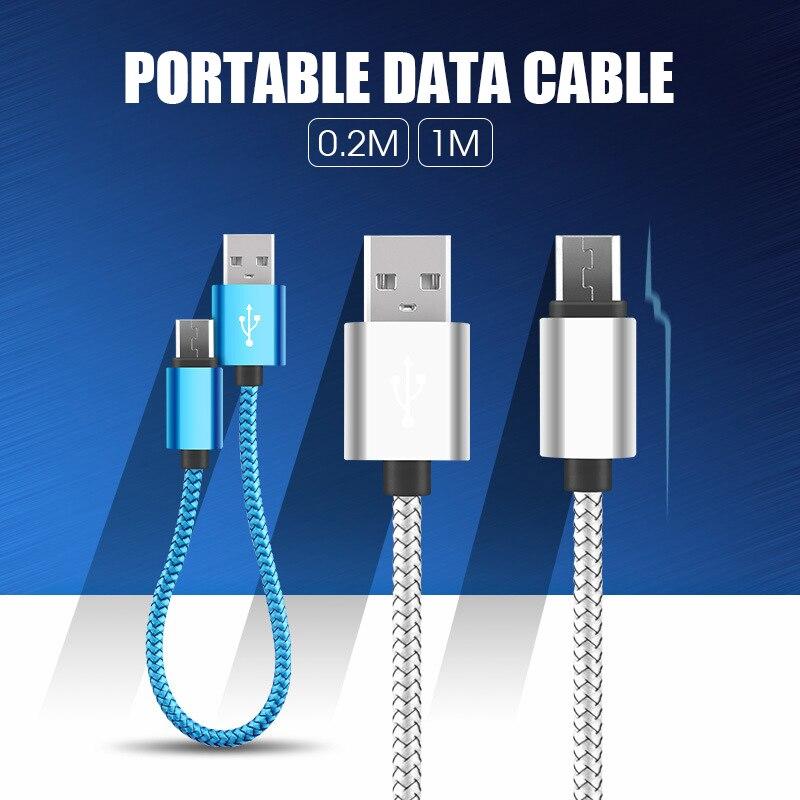 1M 0,2 M USB Micro Cable de datos del teléfono móvil para Samsung S6 S7 aleación de Zinc Cable de carga 2.1A para Xiaomi largo lindo Mini Cable