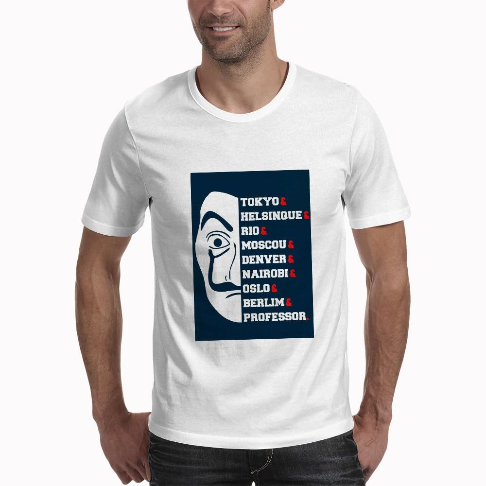 Camiseta De La Casa De Papel diseño divertido La Casa De Papel camiseta hombres dinero atraco camisetas De La serie De TV camisetas hombres de manga corta
