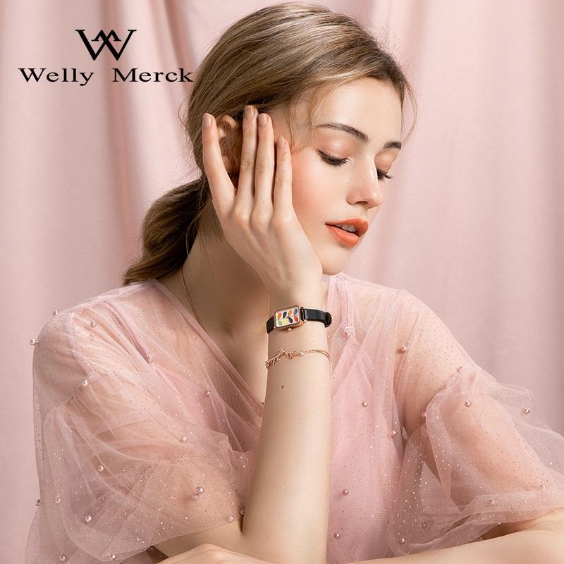 Welly Merck Luxury Brand Rectangle Women Watch Swiss Movement Waterproof Stainless Steel Case Ladies Watch relogio feminino enlarge