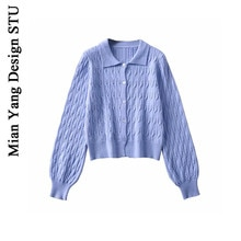 Cotton Elegant Blue Purple Twisted Knitted Sweater Cardigan for Women Retro Easy Matching 20 Autumn