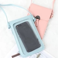 1pcs fashion style practical new women touch screen bag cell phone smartphone wallet leather shoulder strap bag