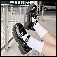 lolita shoes patent leather mary janes shoes 2021 new women platform shoes buckle girls thick sole ladies shoes black