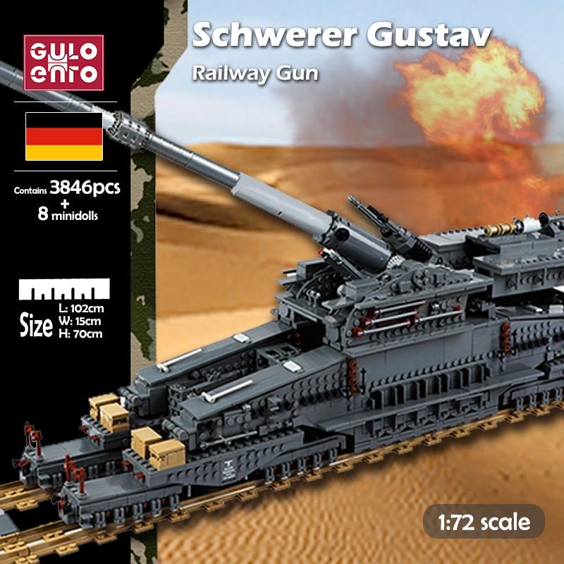 3846pcs WW2 Military Heavy Tank Building Blocks Gustav German Railway Gun Dora Bricks Set Models Kid DIY Toy for Children Gifts