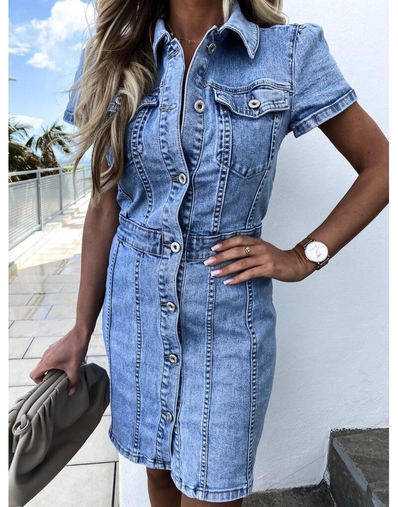 Neue Ankunft Retro Denim Kleid Für Frauen Sommer Kurzarm Dünne Jeans Kleid Mode Casual Stretch Kleid Büro Damen Kleidung