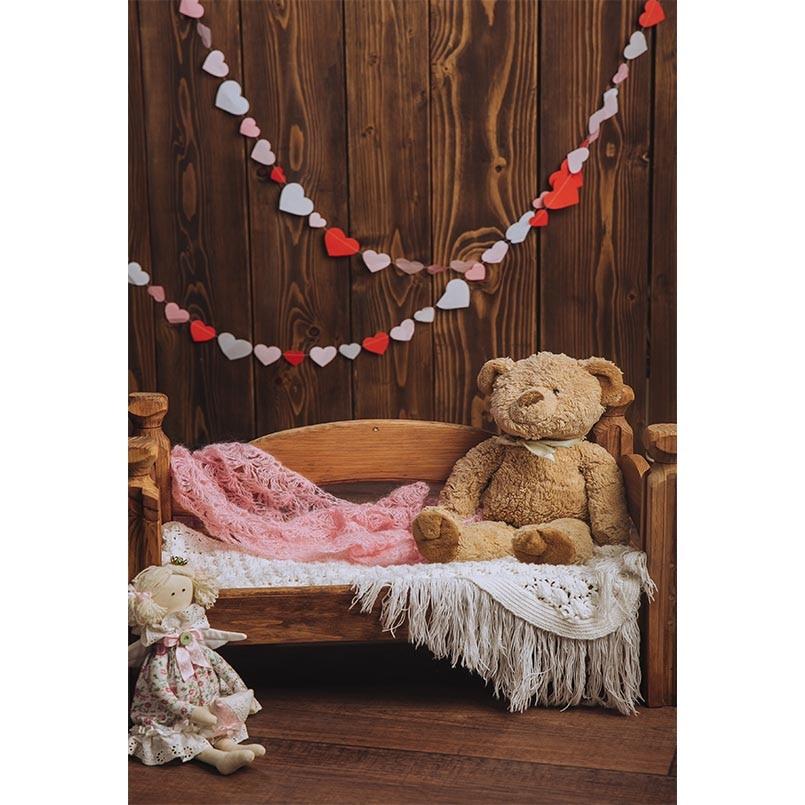 5X7FT Wood wall bear Vinyl portrait newborn children photography backdrop for photo studio props