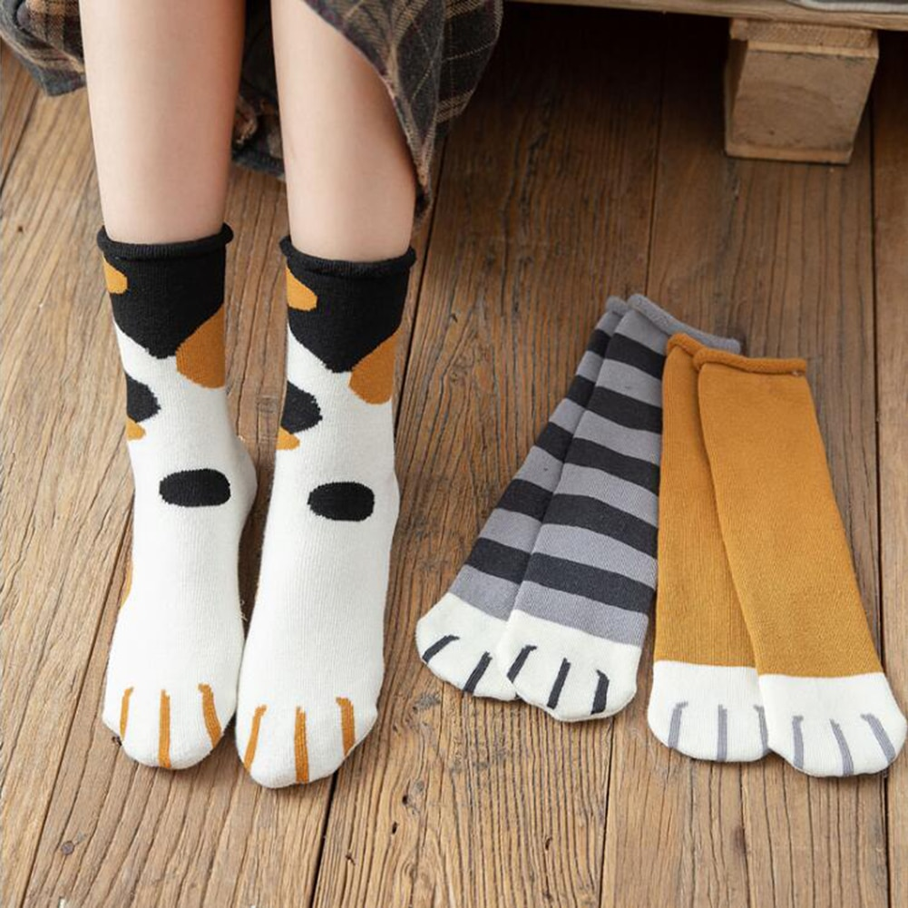 Fashion womens Cats Paw stripe Socks Cute Funny Thick Girls Cartoon Animal Fingers Sock Hosiery Toe Thick Casual Classic Socks