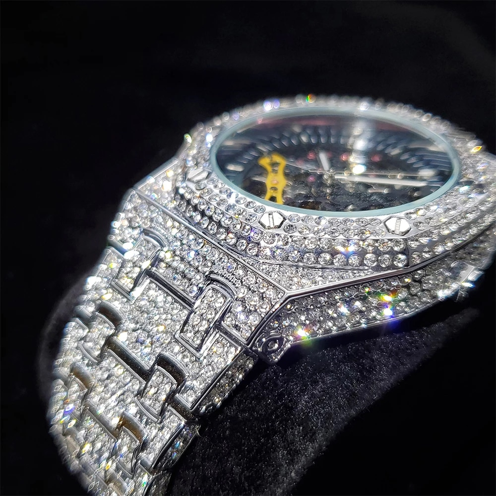 Hip Hop Hollow Men Watches Iced Out Automatic Mechanical  Full Diamond Watch Business AAA Dress Fashion Steel Watch Dropshipping enlarge