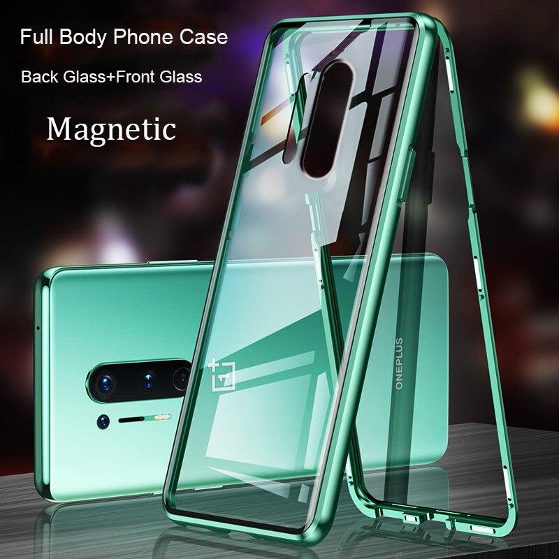 Para OnePlus Nord 5G Funda magnética Oneplus8 frontal + trasero funda de vidrio templado de doble cara para Oneplus 8 Pro 5g funda de parachoques de Metal