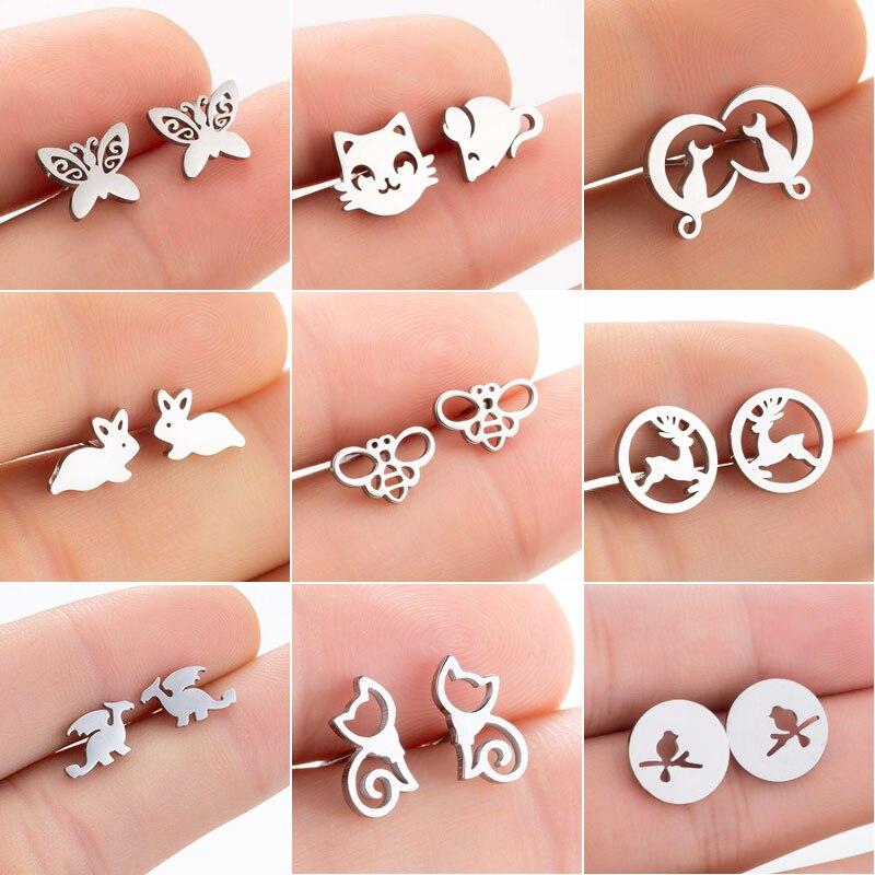 SMJEL Stainless Steel Earrings for Women Girls Fashion Cartoon Rabbit Animal Earrings Cat Jewelry Ac
