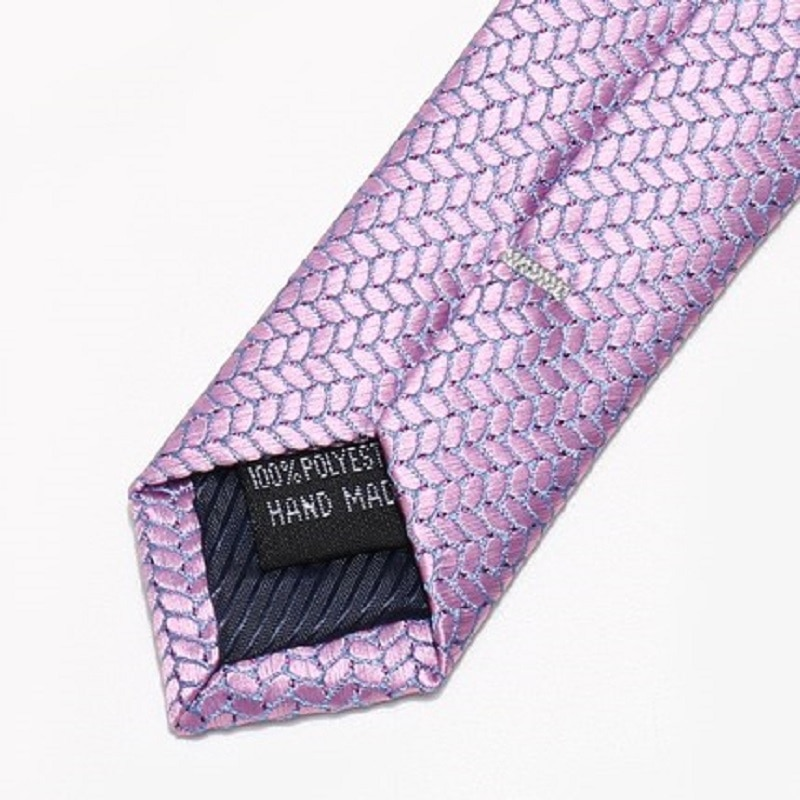 2020 Brand New Fashion High Quality Men 7CM Wave Pattern Pink Purple Necktie Wedding Formal Suit Neck Tie for Men with Gift Box