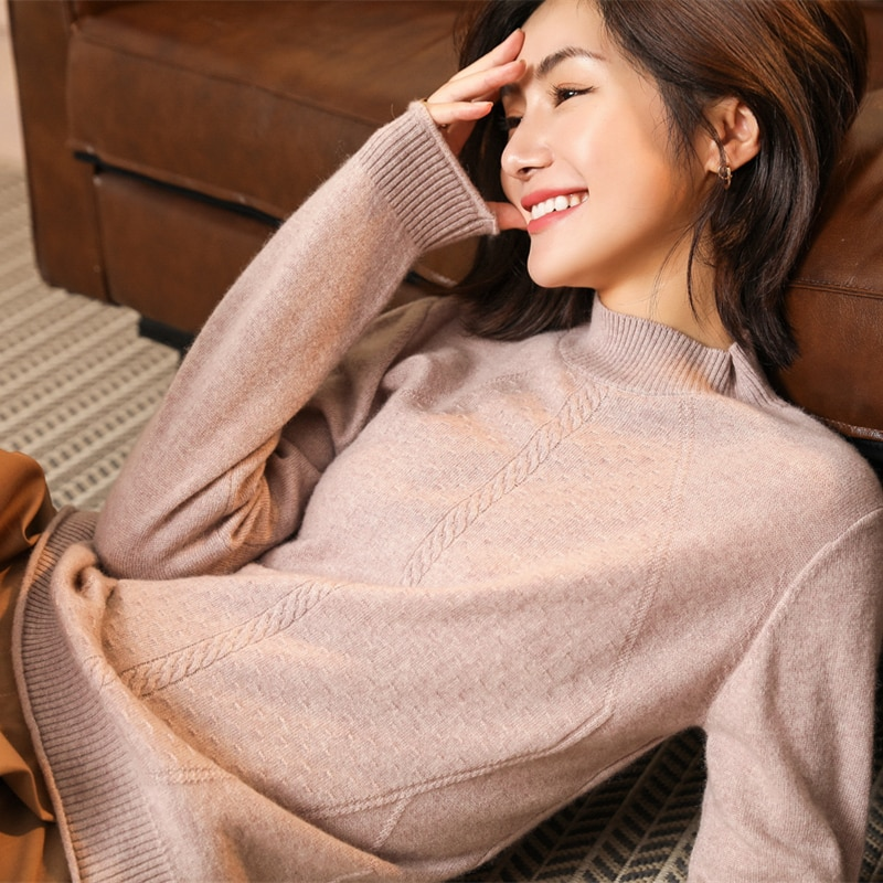 adishree 2021 woman winter 100% Cashmere sweaters and auntmun knitted Pullovers High Quality Warm Female thickening Trutleneck enlarge