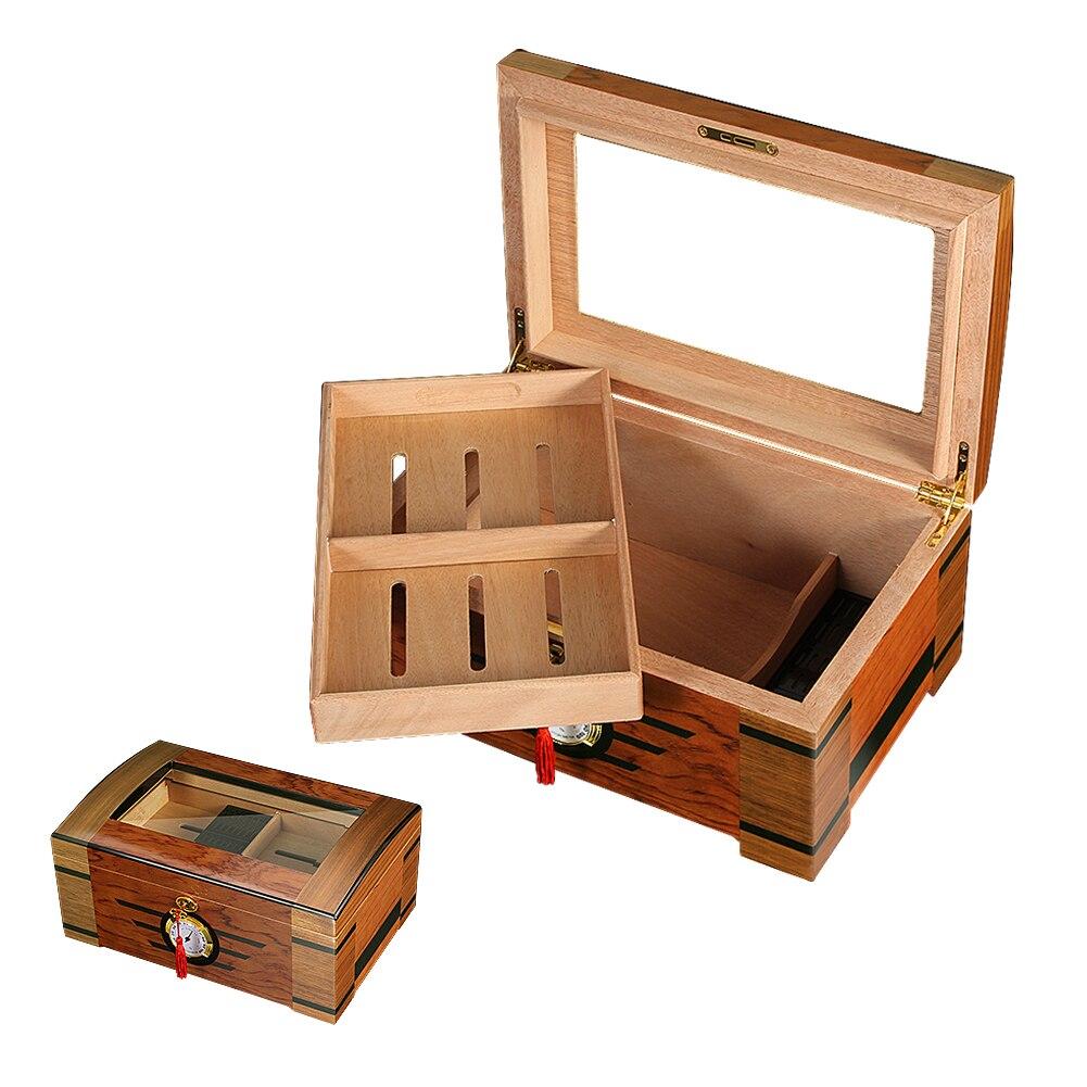 Caixa de Vidro Case com Higrômetro Galiner Madeira Forrado Charuto Humidor Armazenamento Grande Capaticty Retro Umidificador