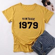 T-Shirt à manches courtes pour femmes, VINTAGE, anniversaire, mode Harajuku Tshirt femme grande taille, en coton, 1979, Top t-shirts