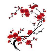 1 pçs 27 estilo flor de ameixa applique vestuário bordado remendo tecido adesivo ferro em costurar no remendo costura acessórios