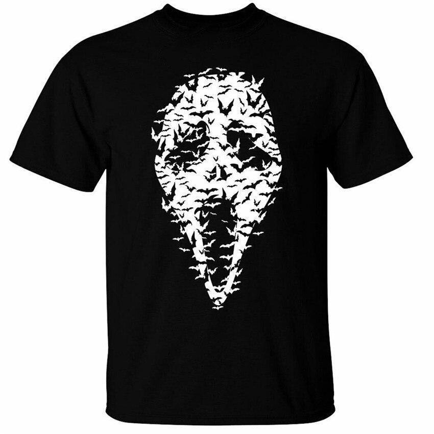 Cara de fantasma murciélagos camiseta para hombre aterrador Halloween película máscara impresa camiseta