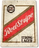 red stripe beer old lager shop store retro metal tin sign plaque poster wall decor art shabby chic gift