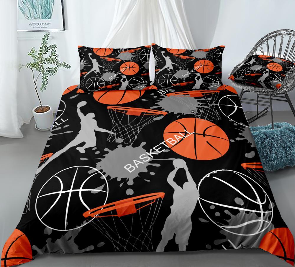 3D Basketball Duvet Cover Set Team Sports Bedding Boys Teens Sports Themed Quilt Cover Queen Home Textiles Basketball Dropship