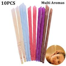 10pcs Ear Candles Wax Remover Horn Earplug Tray Round Aromatherapy Ear Cleaner For Indiana Fragrance