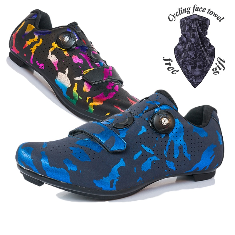 2021 New color Couple Mountain Bike with lock Men's Road bike shoes Female Non-locking Rubber sole Cycling Training shoes